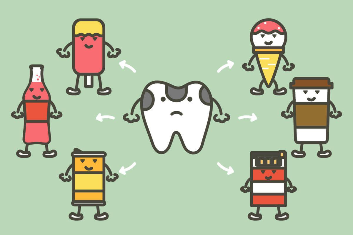 Denti rovinati dalle macchie